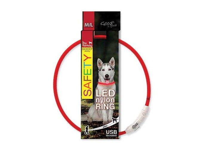 LED Obojek nylonový červený  65 cm dobíjecí USB