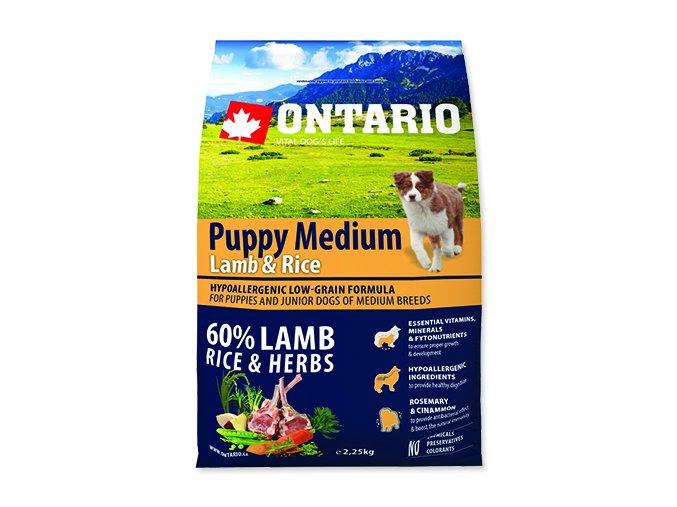 ONTARIO Puppy Medium Lamb & Rice 2,25 kg