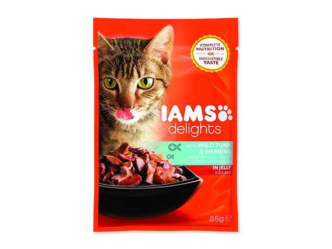 IAMS kapsička cat delights tuna & herring in jelly 85 g