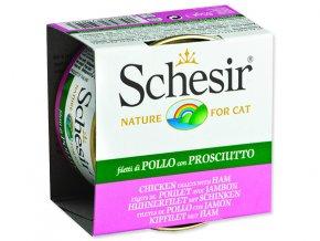Schesir konzerva Cat kuřecí + šunka v želé 85g