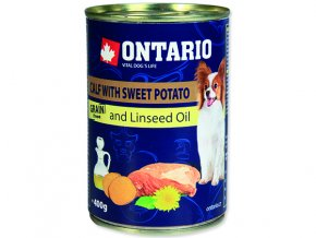 ONTARIO konzerva mini calf, sweetpotato, dandelion and linseed oil 400g
