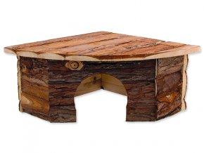 Domek SMALL ANIMALS rohový dřevěný s kůrou 30 x 30 x 16 cm