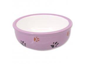 Miska MAGIC CAT keramická kočicí tlapka fialová 13 cm 0,33l