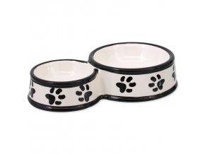 Dvojmiska DOG FANTASY keramická potisk tlapka bílá 25 cm 0,42l