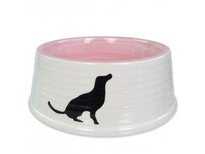 Miska DOG FANTASY keramická motiv pes bílo-růžová 21 cm 1l