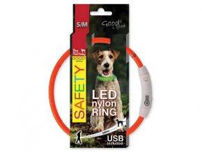 LED obojek nylonový oranžový  45 cm dobíjecí USB