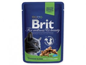 BRIT Premium Cat kapsička Chicken Slices for Sterilised 100 g