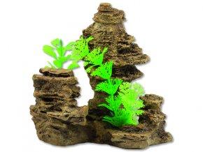 Dekorace AQUA EXCELLENT skála s rostlinou 14 cm