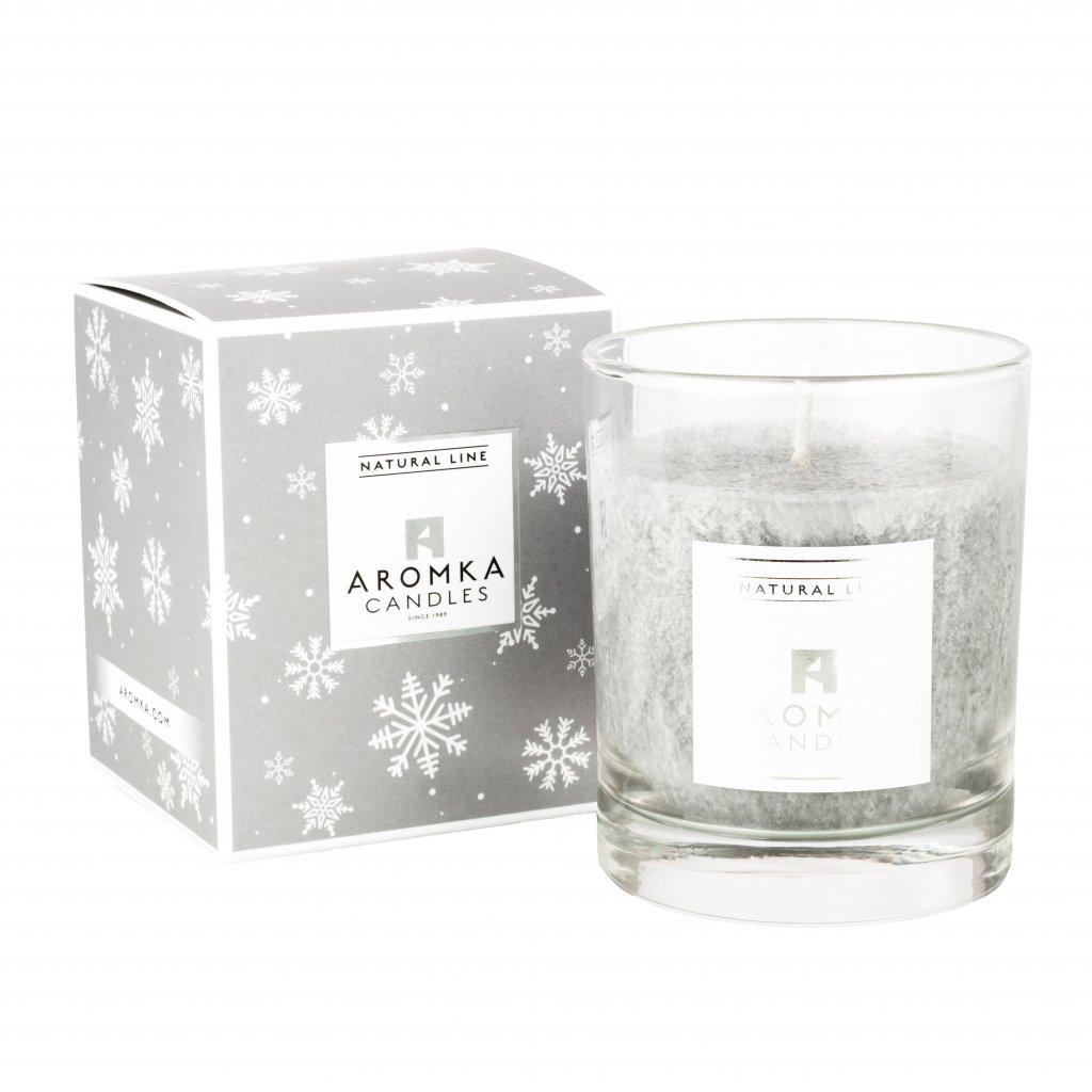 Přírodní vonná svíčka palmová - AROMKA - Vánoční balení - Whiskovka, 140 ml - Vanilka