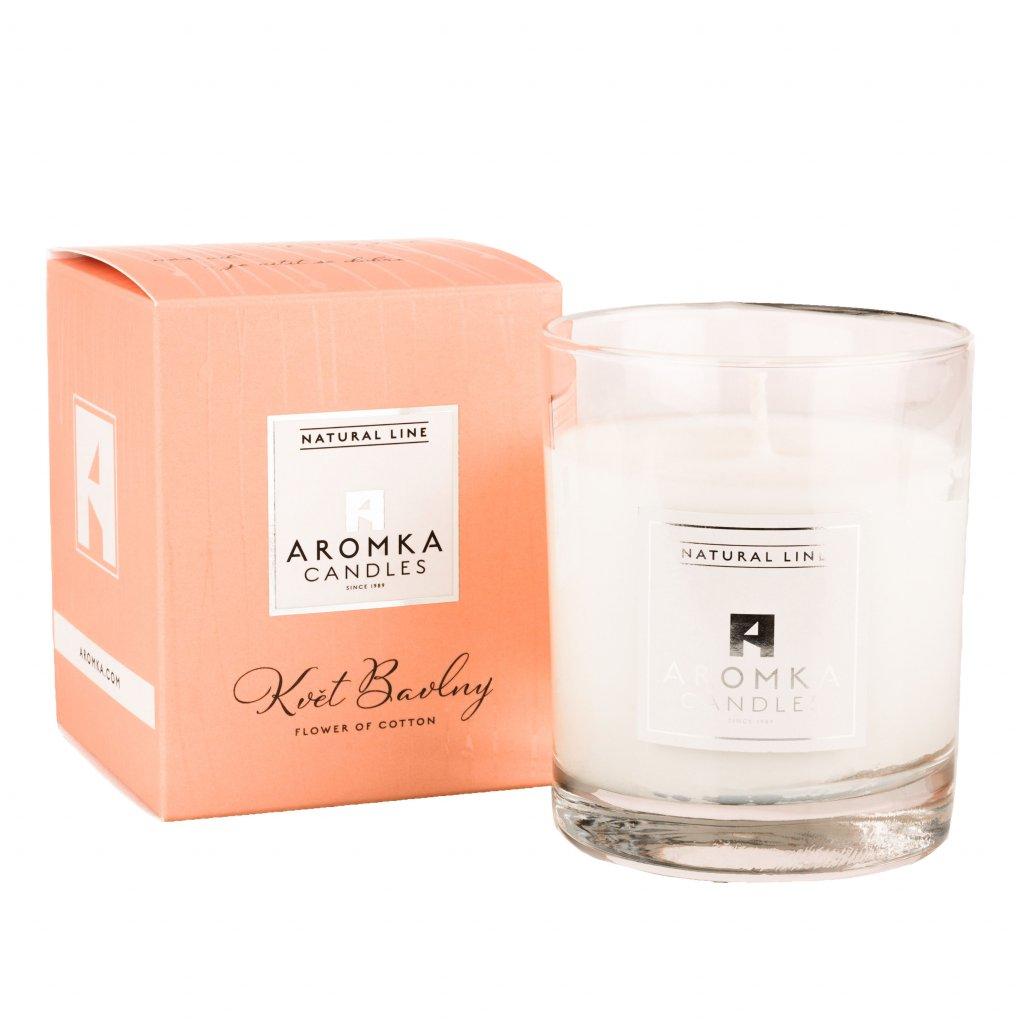 Přírodní vonná svíčka sójová - AROMKA - Limitovaná edice - Whiskovka, 160 ml - Květ Bavlny