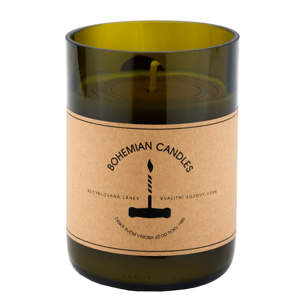 Přírodní vonná svíčka sójová - AROMKA - Sklenice od vína, 290 ml - Champagne