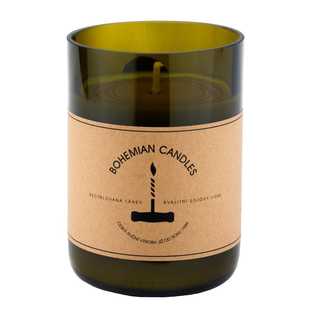 Přírodní vonná svíčka sójová - AROMKA - Láhev od vína, 290 ml - Sangria s Ovocem