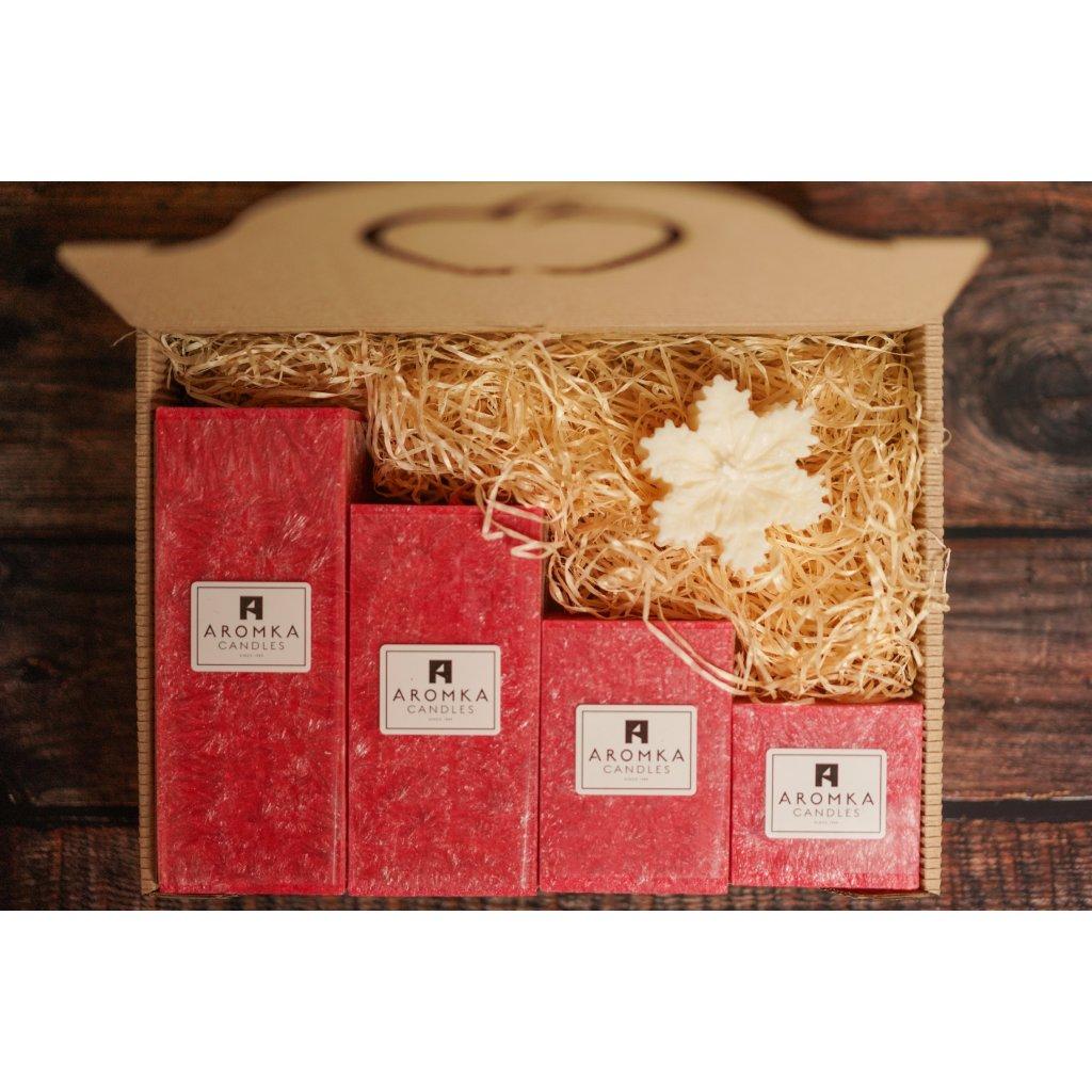 Vánoční balení - AROMKA - Set 4 hranolů, průměr 6,2 cm - Vánoční Punč