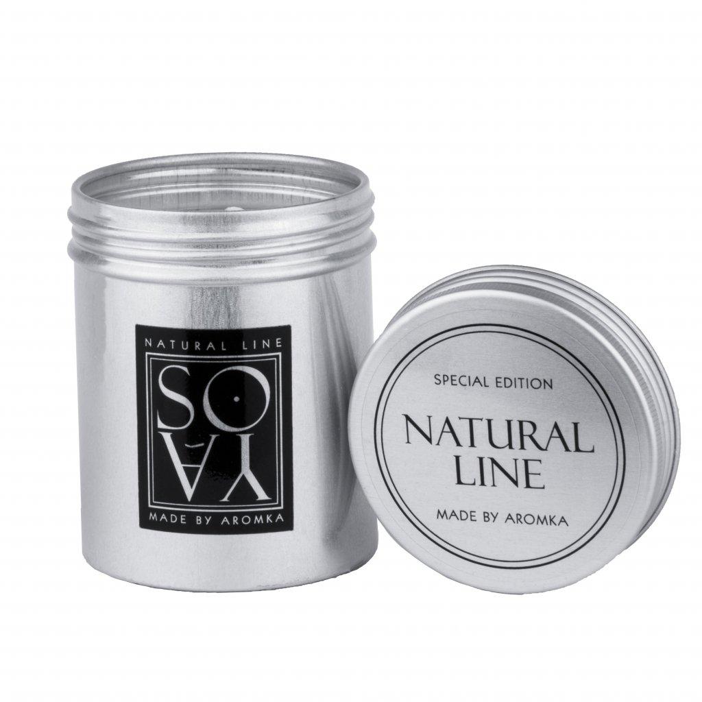 Přírodní vonná svíčka sójová - AROMKA - Plechovka s víkem, 80 ml - Bílý Čaj