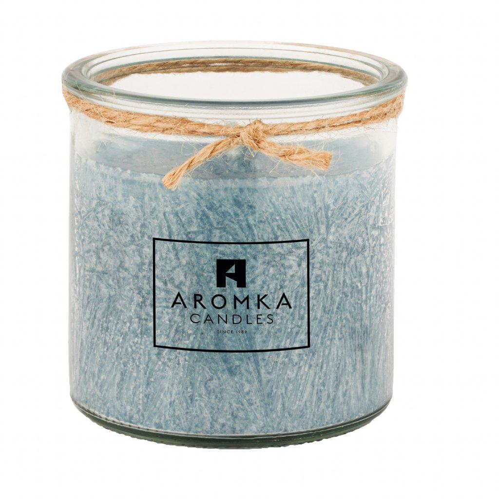 Přírodní vonná svíčka palmová - AROMKA - Recyklované sklo, 150 ml - Ambra
