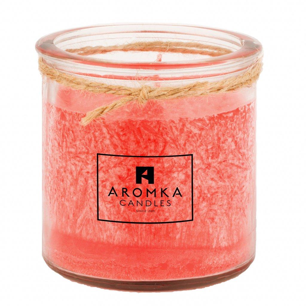 Přírodní vonná svíčka palmová - AROMKA - Recyklované sklo, 250 ml - Rubínové Jablko