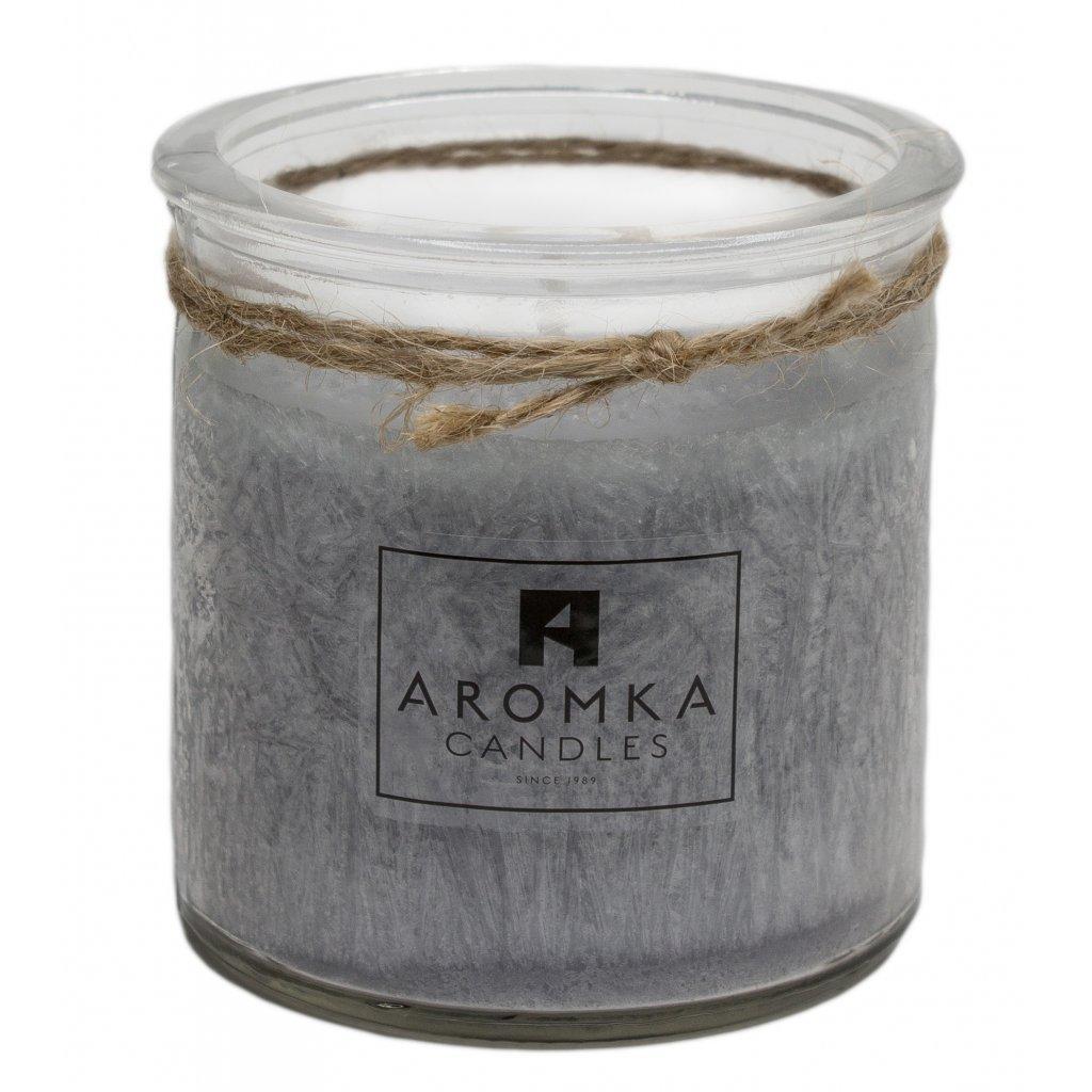 Přírodní vonná svíčka palmová - AROMKA - Recyklované sklo, 140 ml - Pánský Parfém