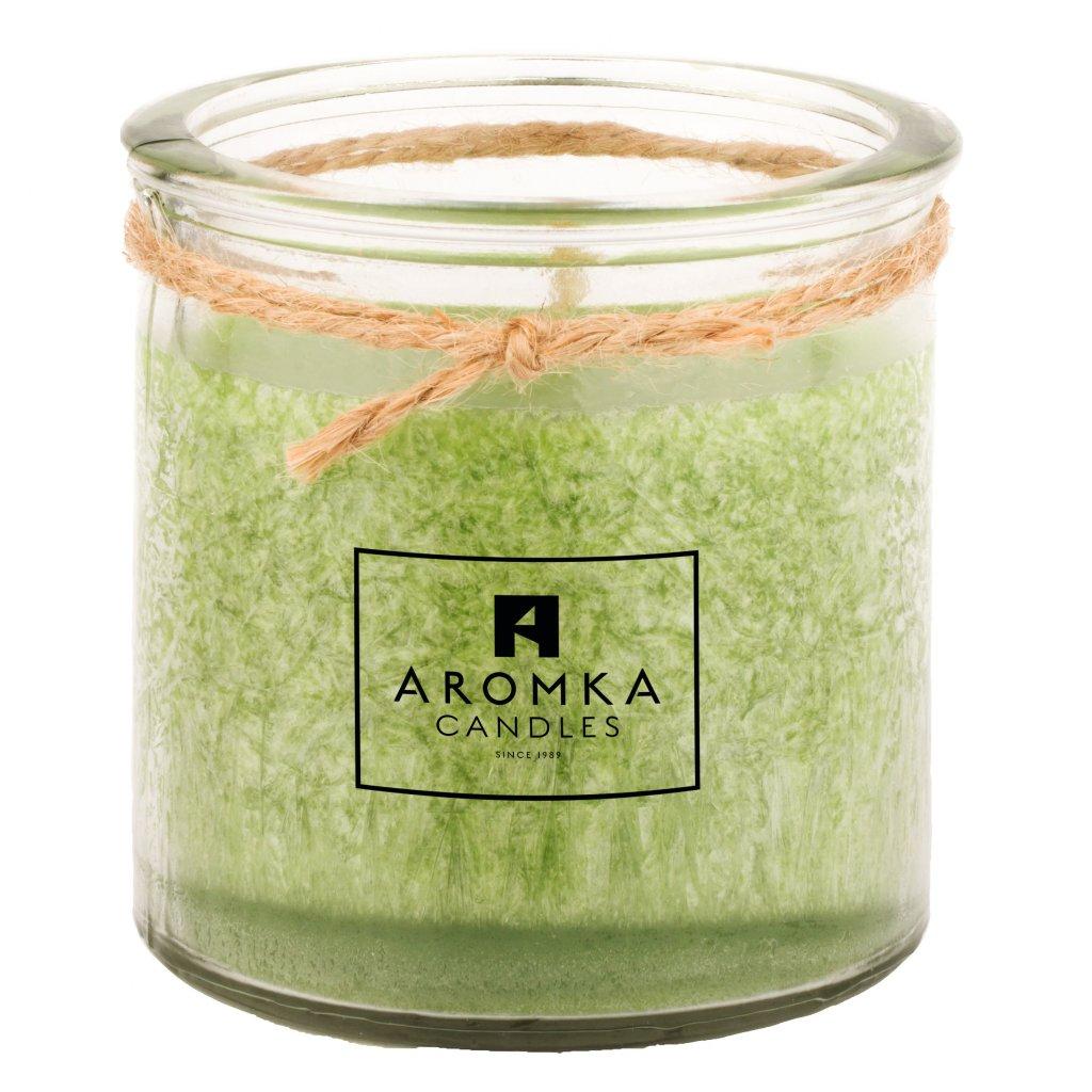 Přírodní vonná svíčka palmová - AROMKA - Recyklované sklo, 140 ml - Květ Lípy