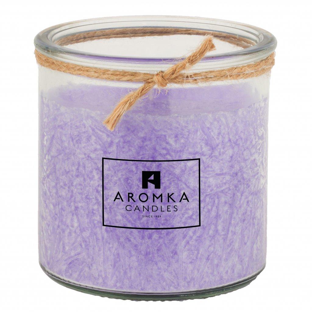 Přírodní vonná svíčka palmová - AROMKA - Recyklované sklo, 140 ml - Levandule