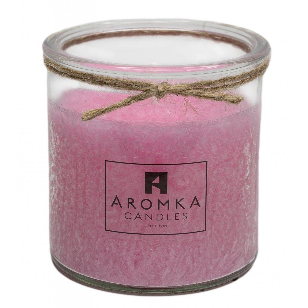 Přírodní vonná svíčka palmová - AROMKA - Recyklované sklo, 140 ml - Dámský Parfém
