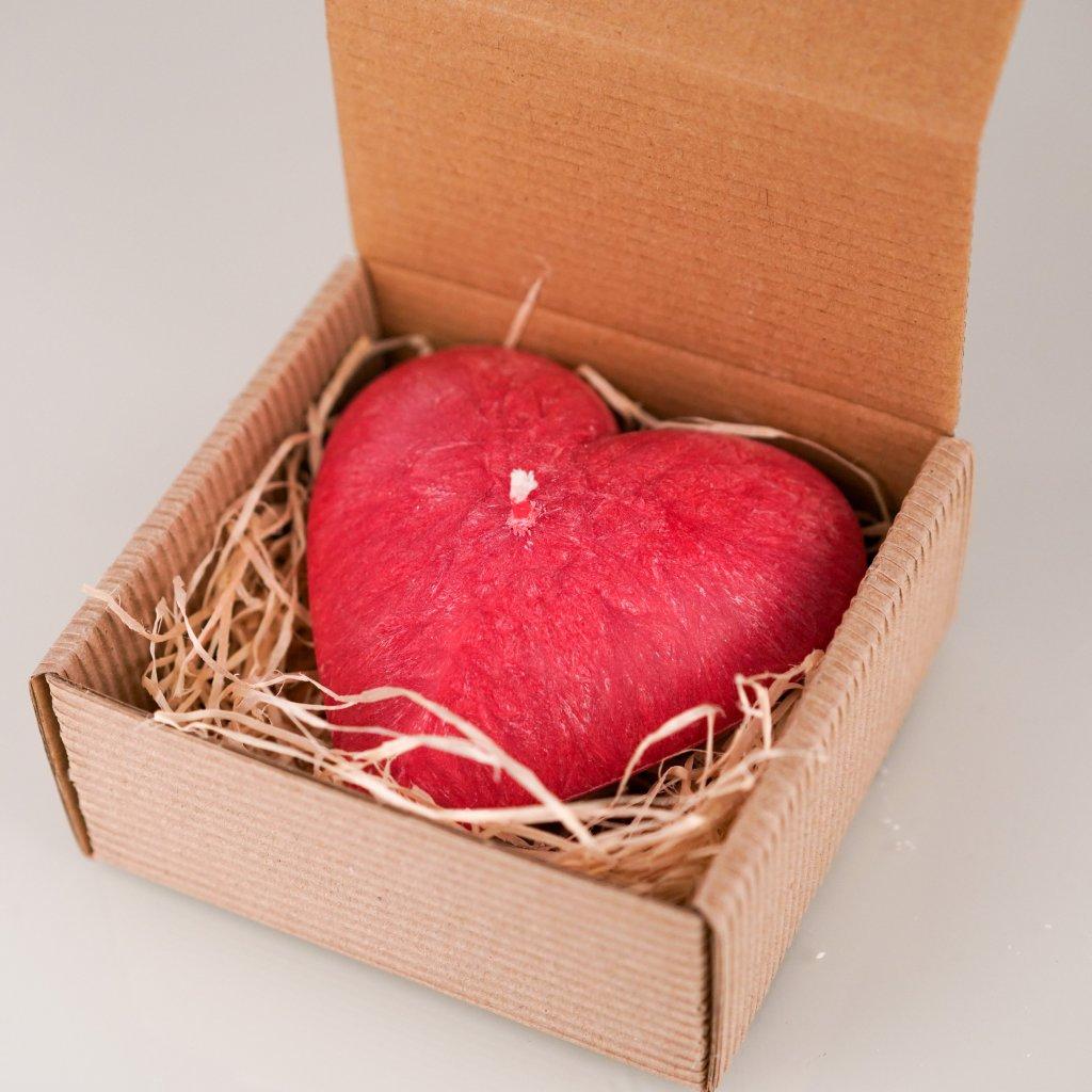 Přírodní vonná svíčka palmová - AROMKA - Valentýnské Srdce v krabičce - Růže