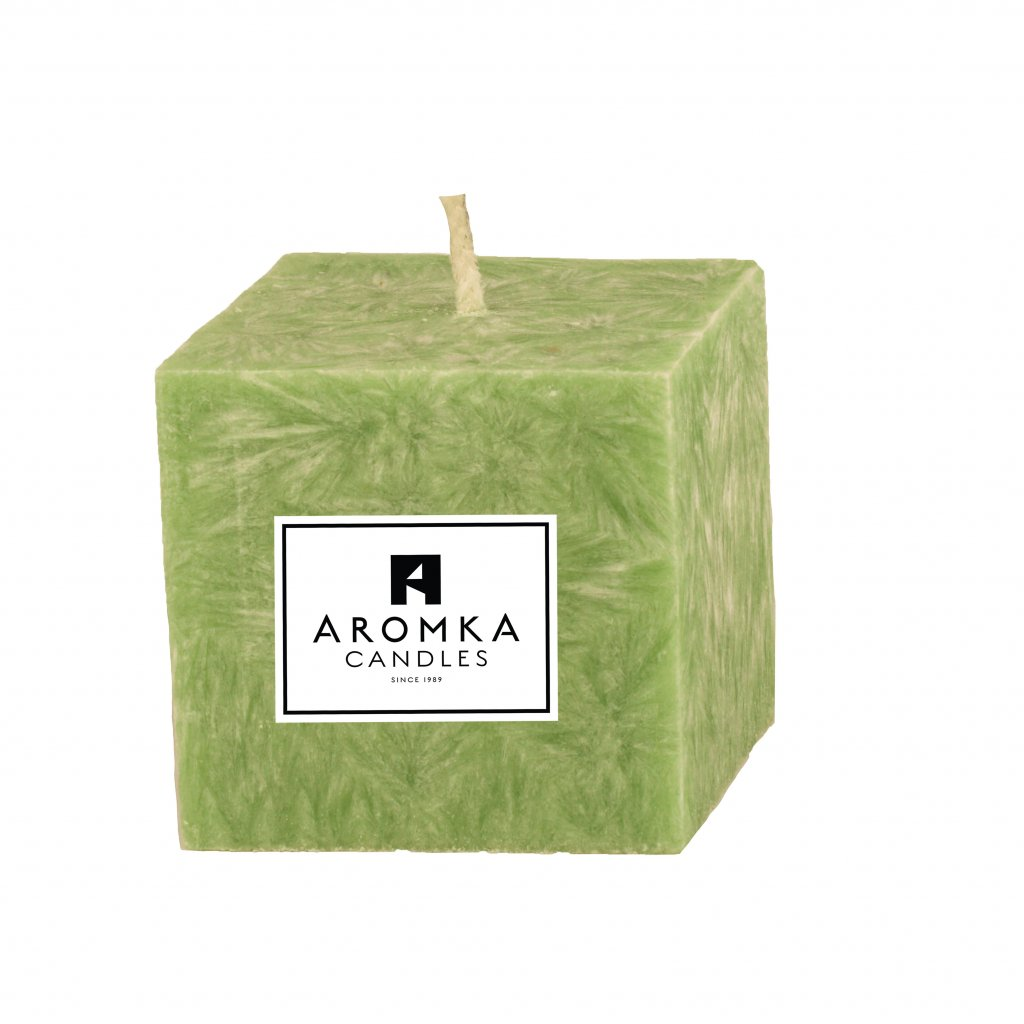 Přírodní vonná svíčka palmová - AROMKA - Hranol, průměr 6,2 cm, výška 6 cm - Květ Lípy