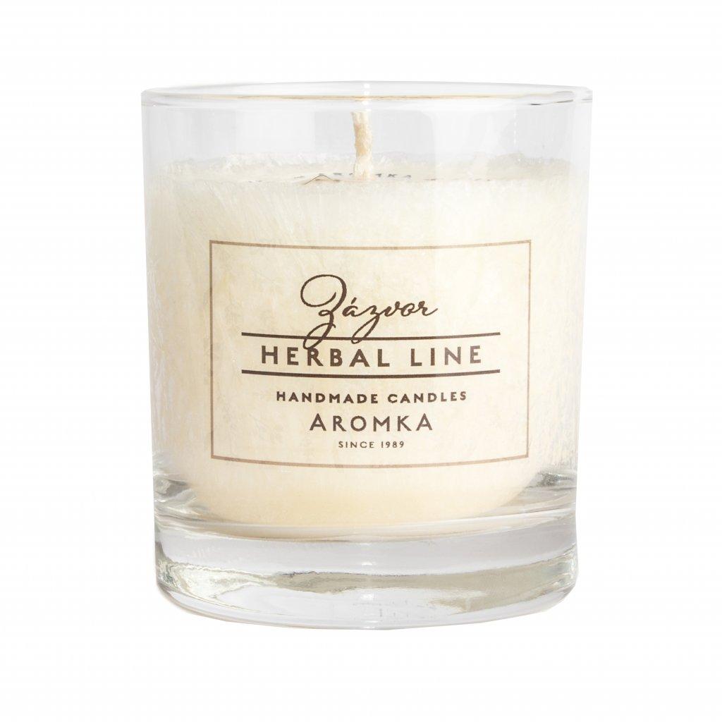 Přírodní vonná svíčka palmová - AROMKA - Herbal Line - Whiskovka, 200ml - Zázvor