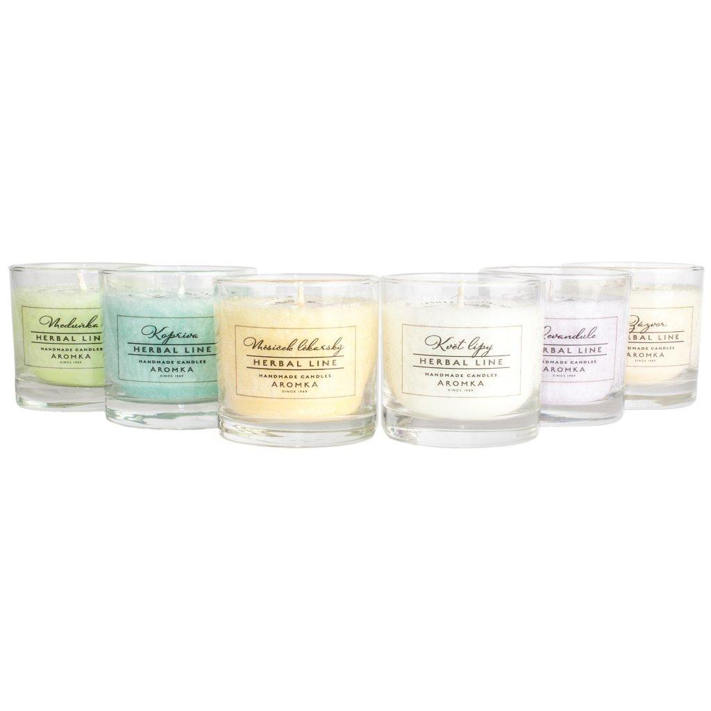 Přírodní vonná svíčka palmová - AROMKA - Set 6 ks svíček Whisky v průmyslovém balení - Herbal Line