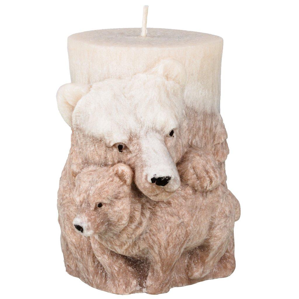 Přírodní vonná svíčka palmová - AROMKA - Medvěd válec - Hnědý