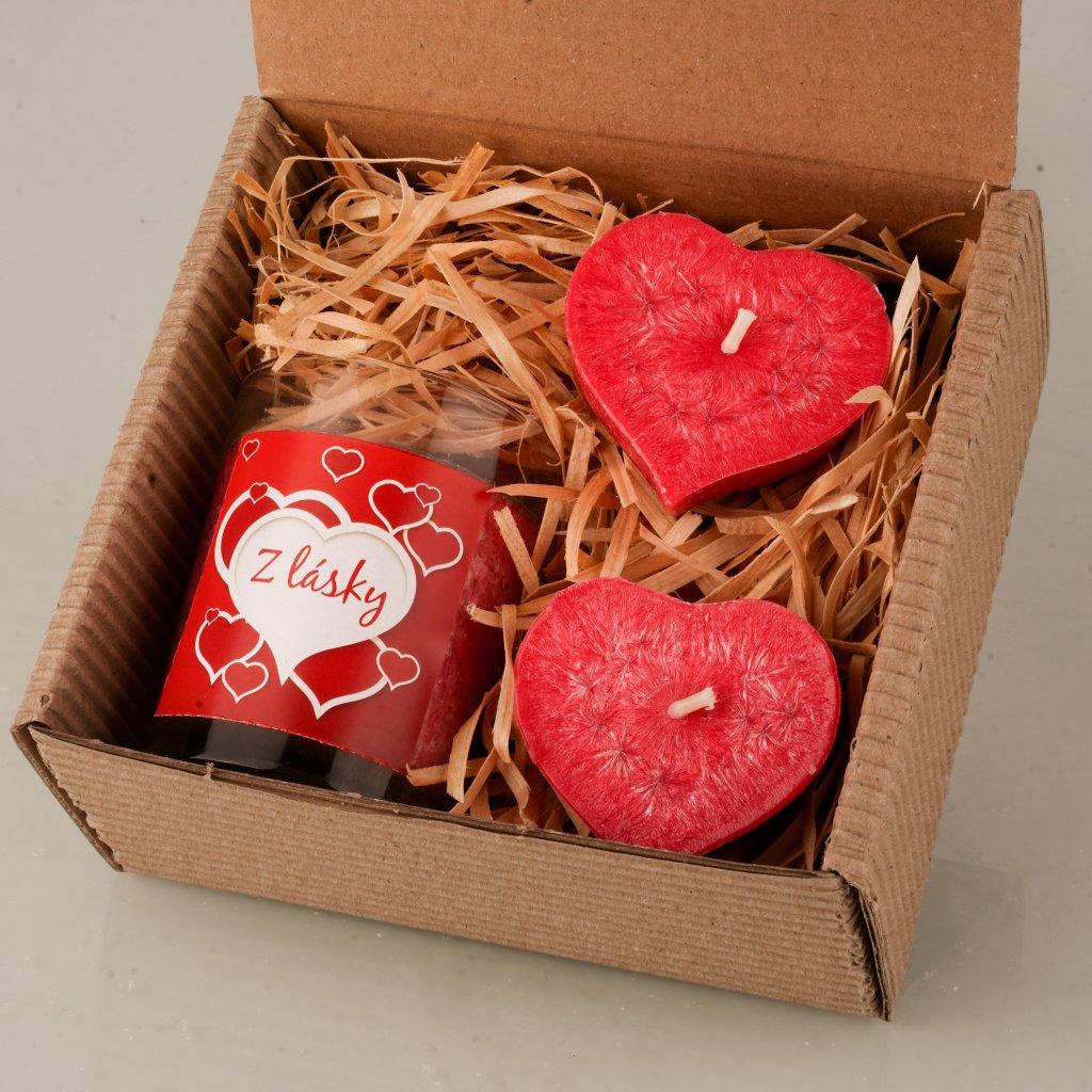 Přírodní vonná svíčka palmová - AROMKA - Dárkové balení z lásky - Kónusový váleček, 2 plovoucí srdíčka - Červená