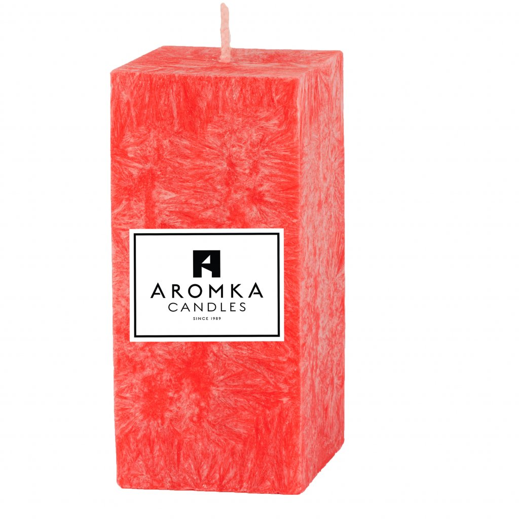 Přírodní vonná svíčka palmová - AROMKA - Hranolek úzký - Průměr 4,5 cm, Výška 7 cm - Rubínové Jablko