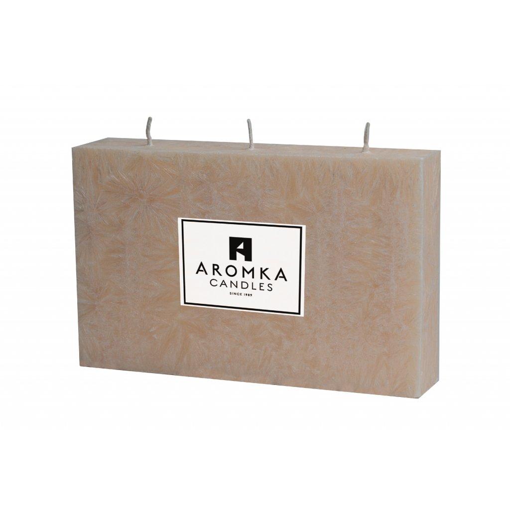 Přírodní vonná svíčka palmová - AROMKA - Hranol placatý s 3 knoty - Průměr 3,2 cm, Výška 8,8 cm - Zázvor