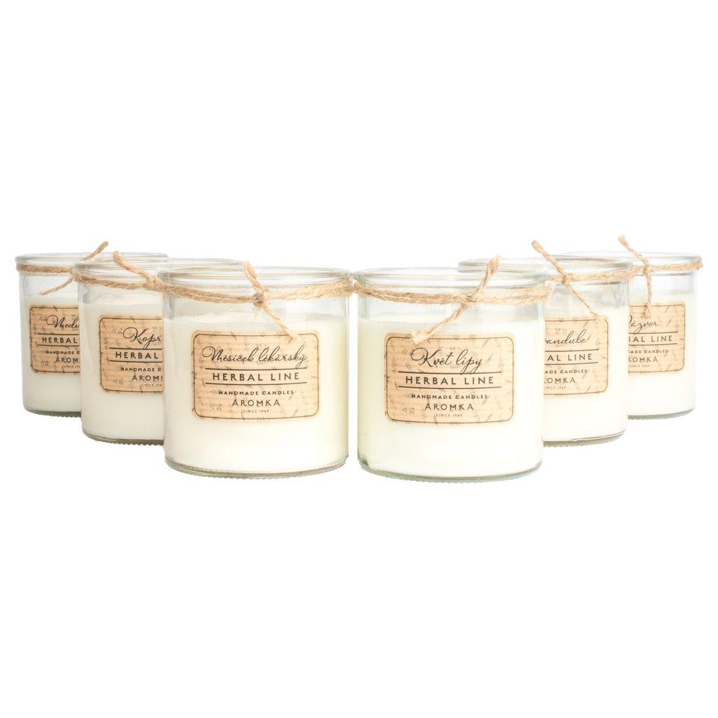Přírodní vonná svíčka sójová - AROMKA - Set 6 kusů bylinek v recyklovaném skle s režným štítkem