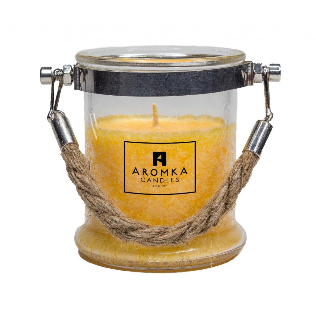 Přírodní vonná svíčka palmová - AROMKA - Svíčka ve skle s provazem, 300 ml - Meloun s Okurkou