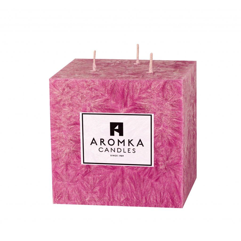 Přírodní vonná svíčka palmová - AROMKA - Hranol, průměr 9,1 cm, výška 9 cm - Dámský Parfém
