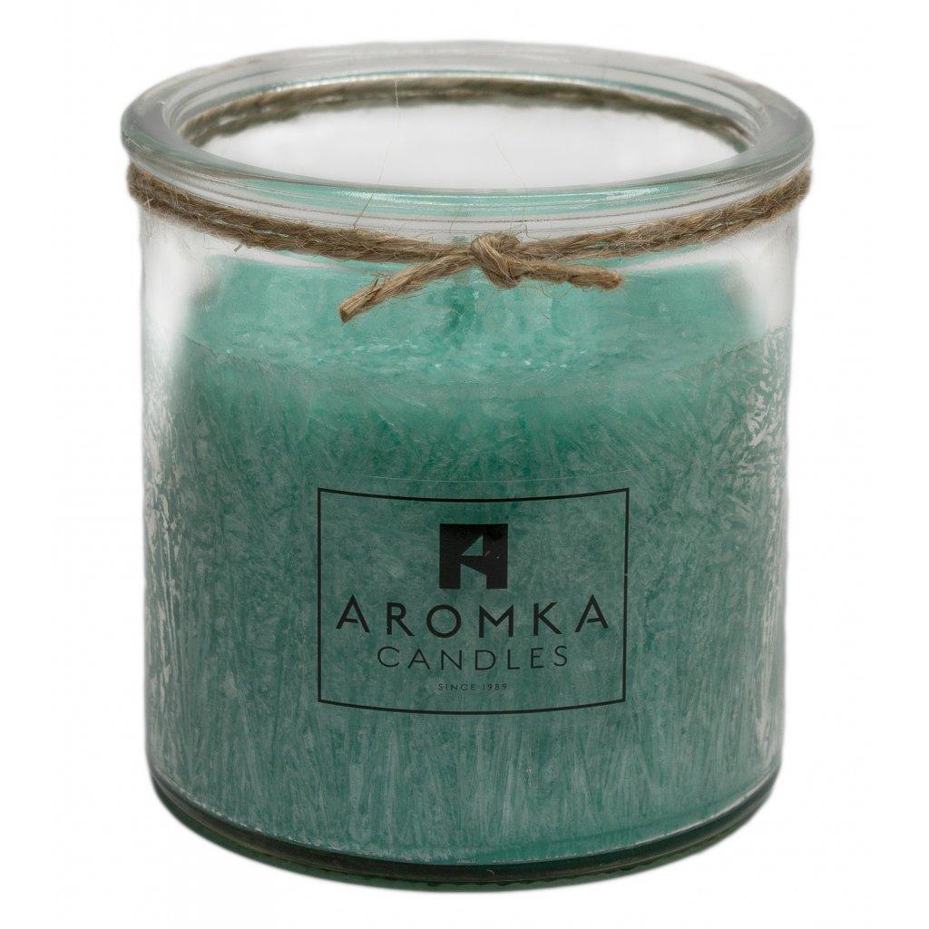 Přírodní vonná svíčka palmová - AROMKA - Recyklované sklo, 250 ml - Aloe Vera