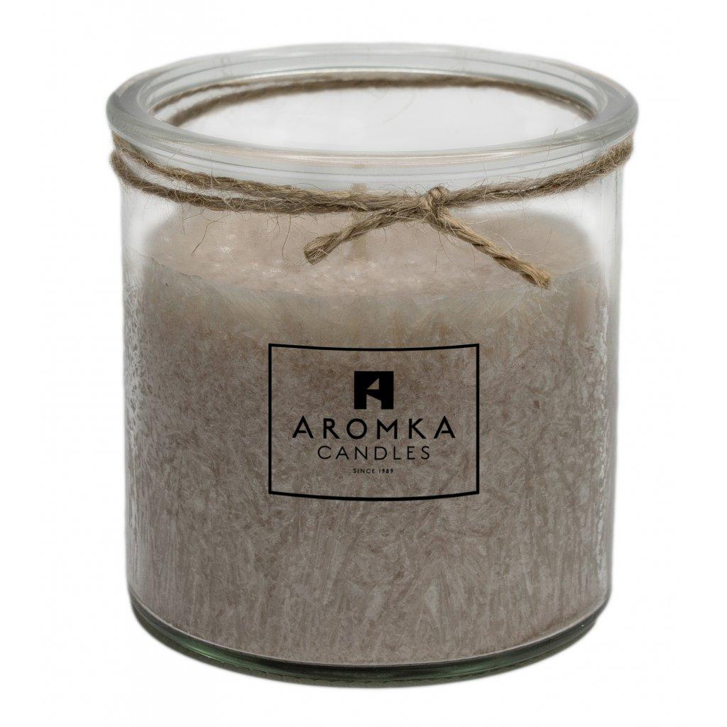 Přírodní vonná svíčka palmová - AROMKA - Recyklované sklo, 250 ml - Santalové Dřevo
