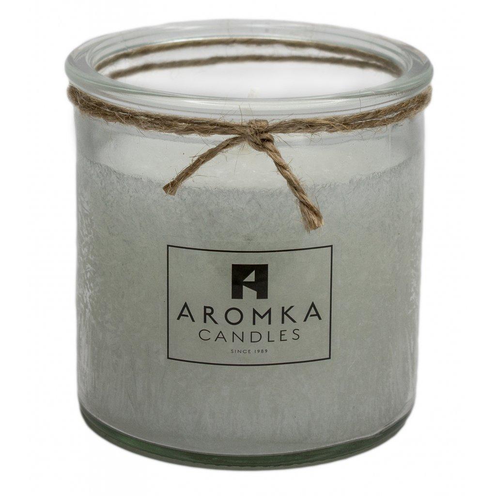 Přírodní vonná svíčka palmová - AROMKA - Recyklované sklo, 250 ml - Čisté prádlo