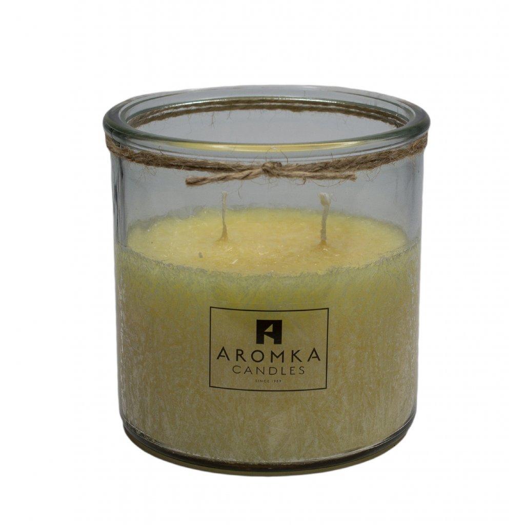 Přírodní vonná svíčka palmová - AROMKA - Recyklované sklo, 500 ml - Měsíček Lékařský