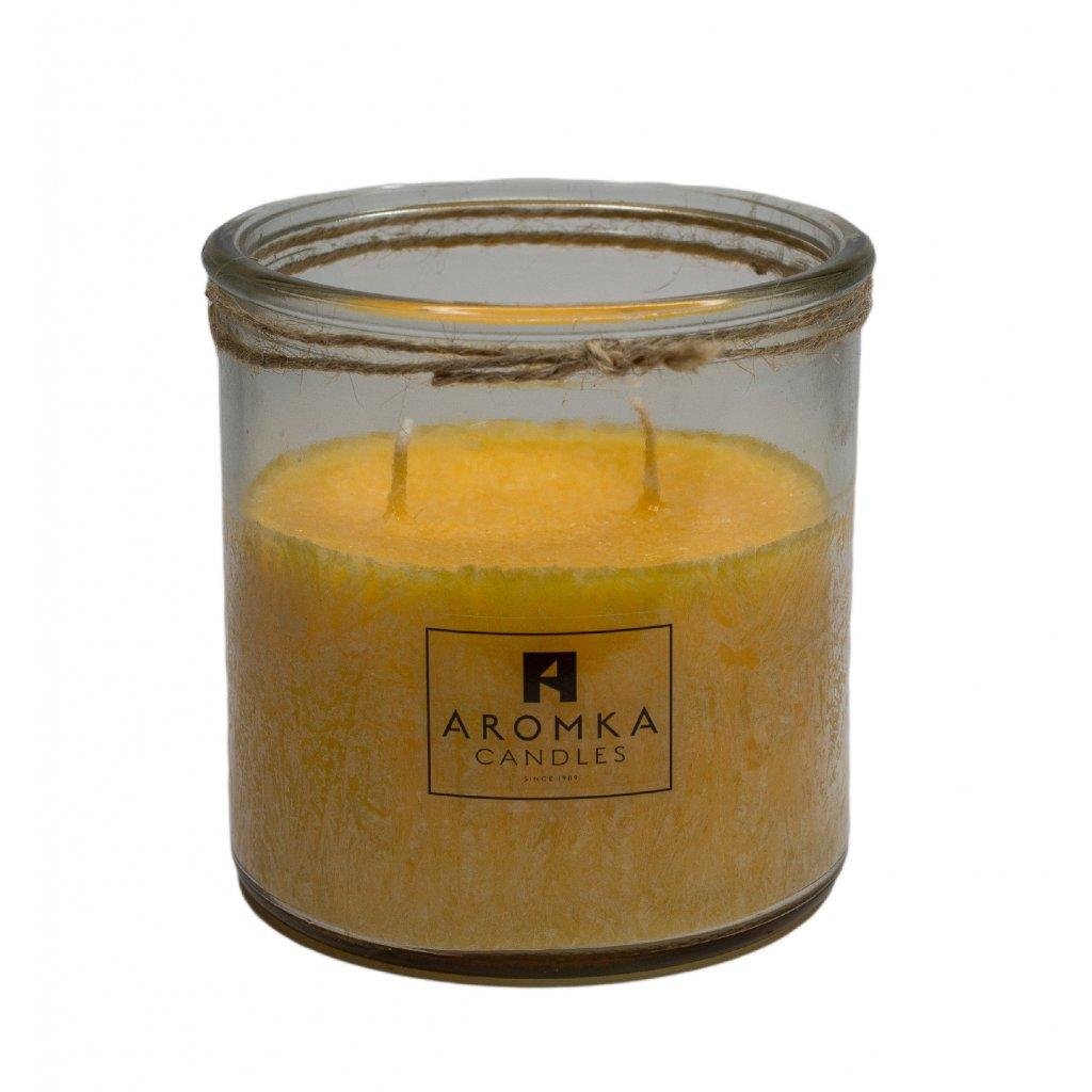 Přírodní vonná svíčka palmová - AROMKA - Recyklované sklo, 500 ml - Meloun s Okurkou