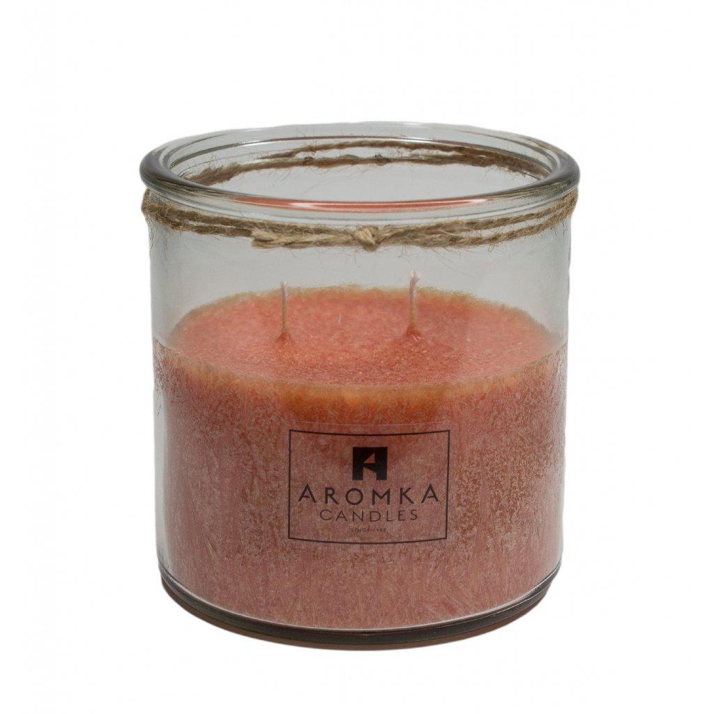 Přírodní vonná svíčka palmová - AROMKA - Recyklované sklo, 500 ml - Skořice
