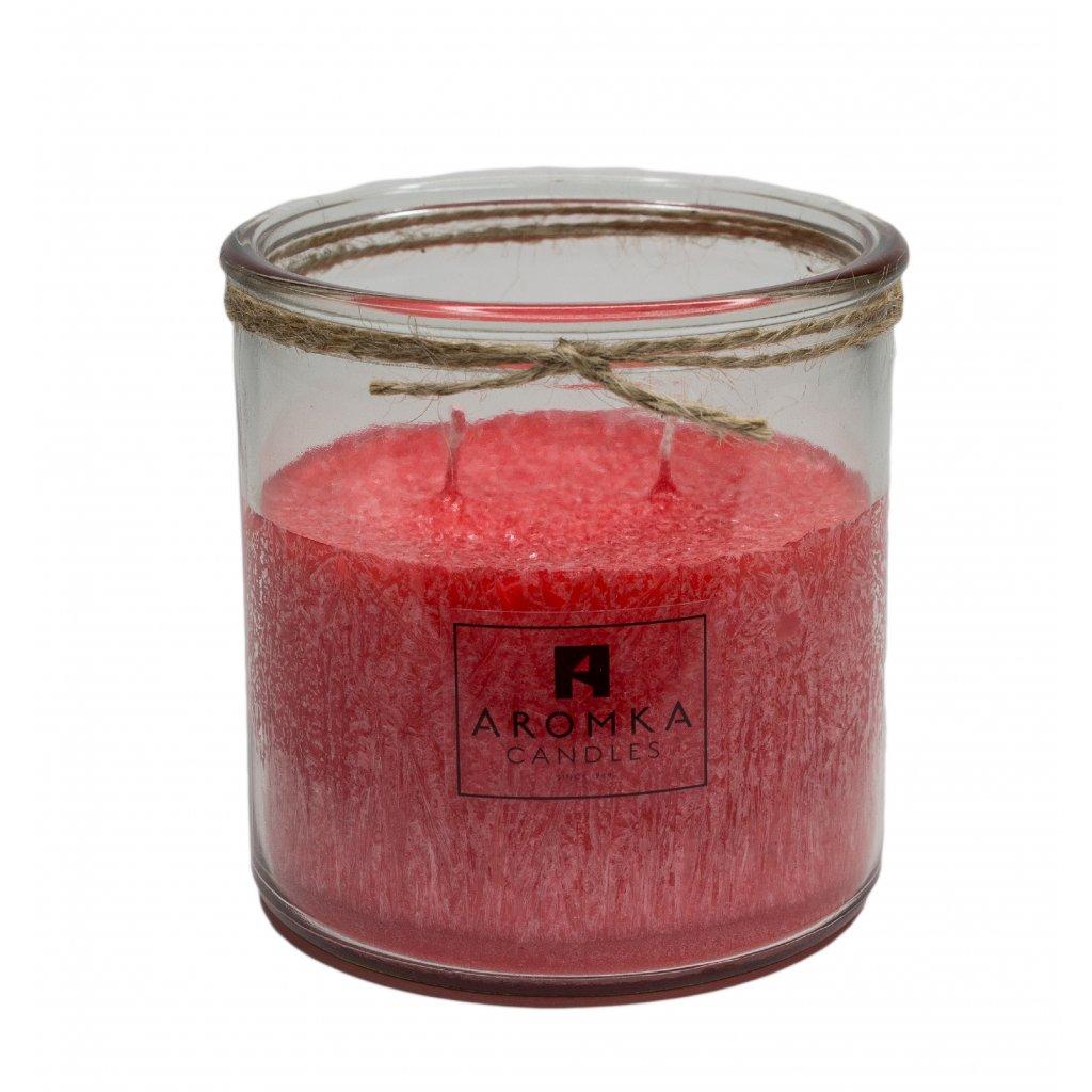 Přírodní vonná svíčka palmová - AROMKA - Recyklované sklo, 500 ml - Rubínové Jablko