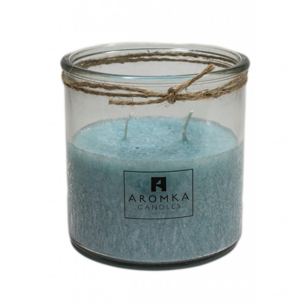 Přírodní vonná svíčka palmová - AROMKA - Recyklované sklo, 500 ml - Černý Hrozen
