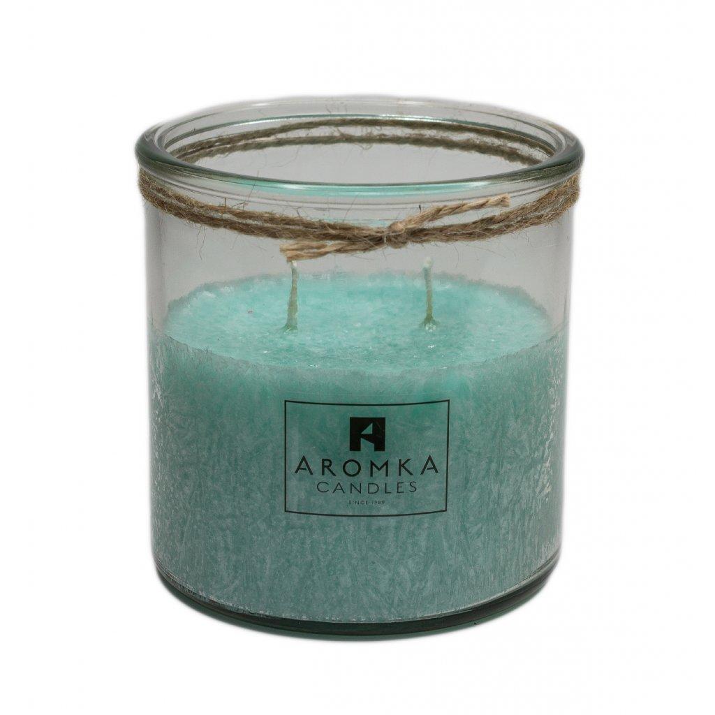 Přírodní vonná svíčka palmová - AROMKA - Recyklované sklo, 500 ml - Meduňka