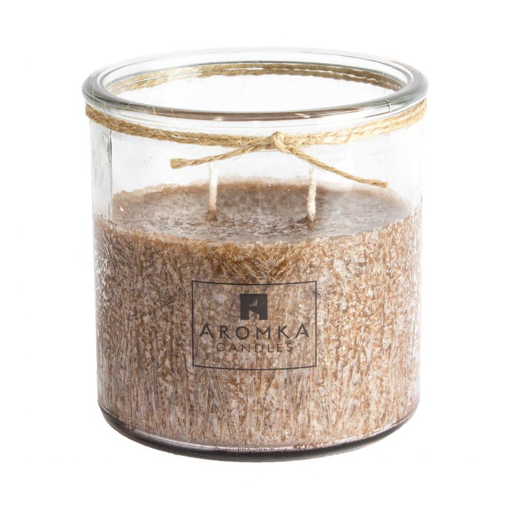 Přírodní vonná svíčka palmová - AROMKA - Recyklované sklo, 500 ml - Gentleman