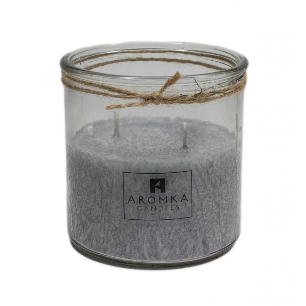 Přírodní vonná svíčka palmová - AROMKA - Recyklované sklo, 500 ml - Pánský Parfém
