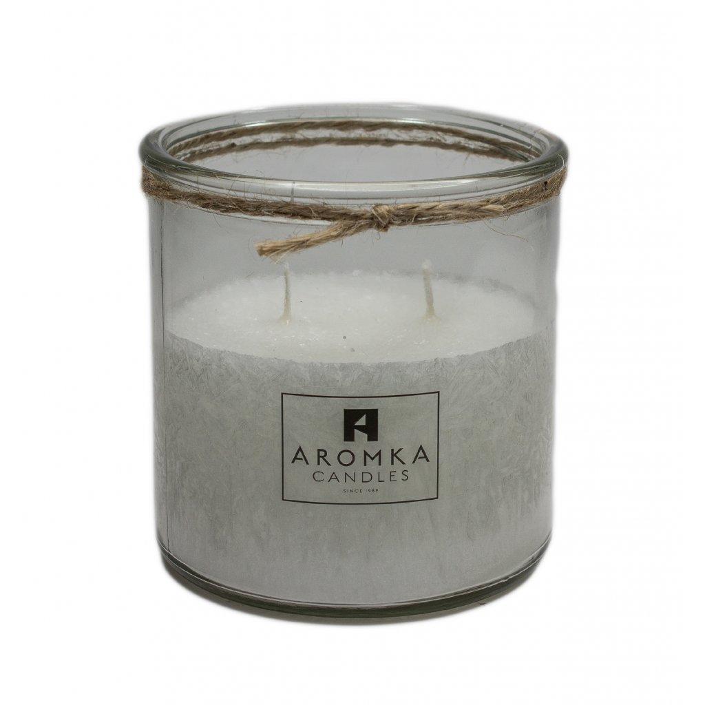 Přírodní vonná svíčka palmová - AROMKA - Recyklované sklo, 500 ml - Čisté Prádlo