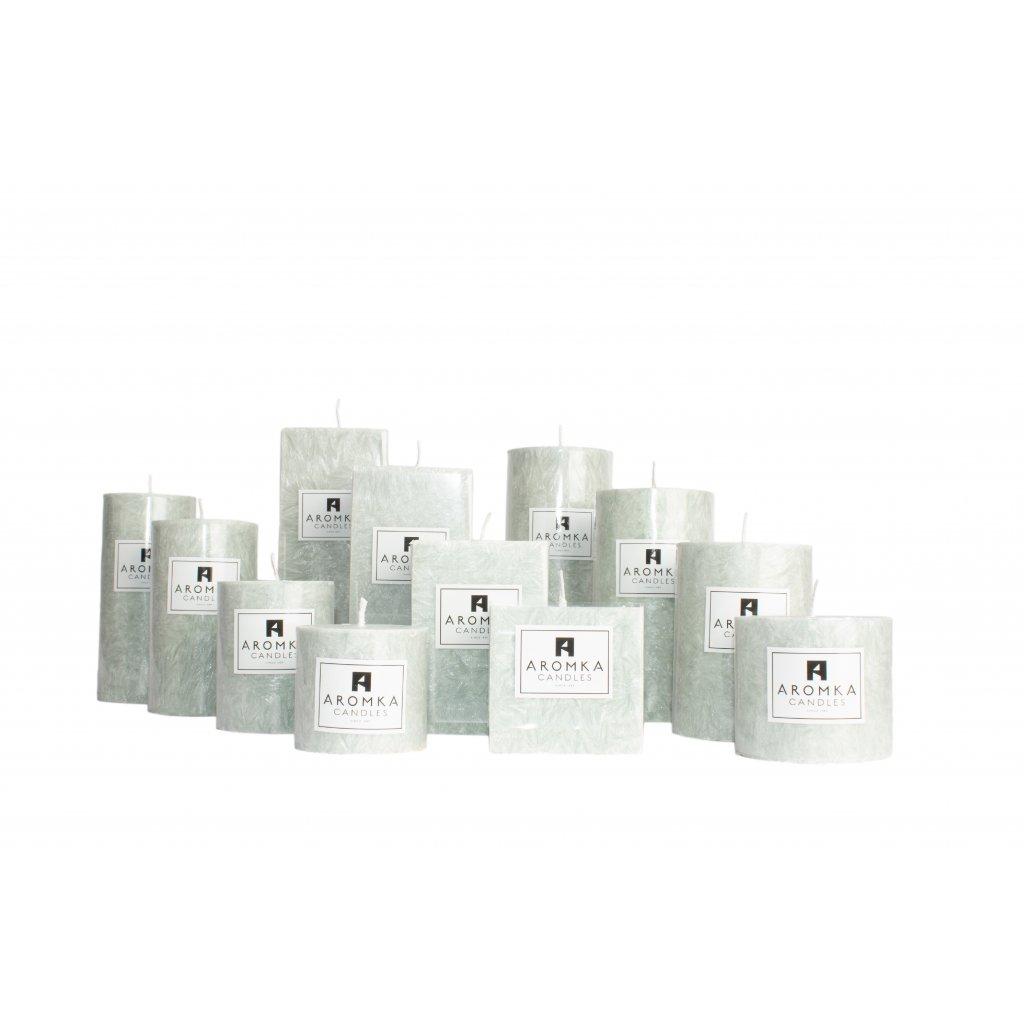 Přírodní vonná svíčka palmová - AROMKA - Kaskáda 8 válců a 4 hranoly v průmyslovém balení - Kopřiva