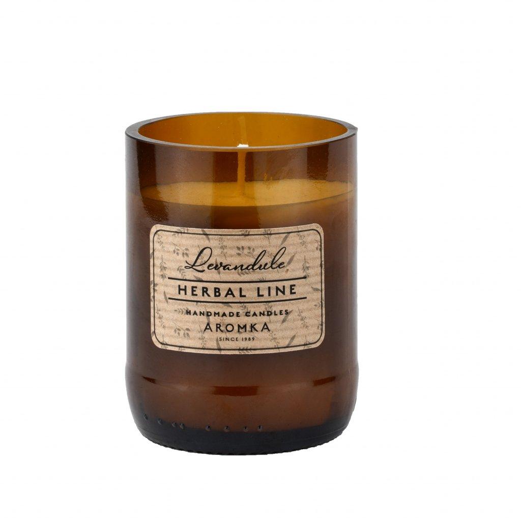 Přírodní vonná svíčka sójová - AROMKA -Herbal Line - Pivní Láhev, 150 ml - Levandule