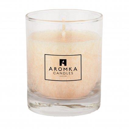 Přírodní vonná svíčka palmová - AROMKA - Whiskovka, 250 ml - Santalové Dřevo